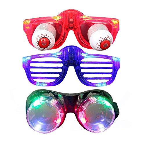 Lustige Brillen, Aomeiqi Led Brille Weihnachts Brille für Kinder und Erwachsene, Led Sonnenbrillen Blinkende Brille Gruppe mit Schwarz Steampunk Brille, Rot Partybrille und Leuchtbrille für Party, Geburtstag, Halloween, Weihnachten (3 Pcs)