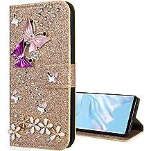 Nadoli Bling - Funda con tapa para Huawei Mate 20 (piel sintética, función atril, cierre magnético), diseño de flores y mariposas, color rosa