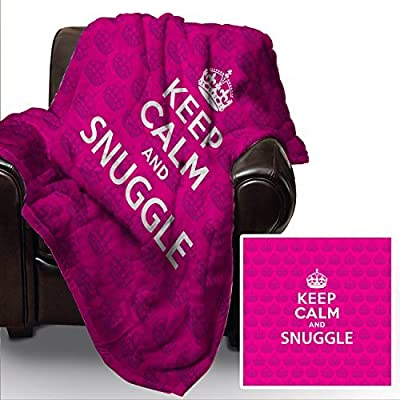 Pink Keep Calm And Snuggle Design Soft Fleece Blanket Cover Throw Over Sofa Bed Blanket
