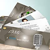 Einladungskarten 30 Geburtstag, A star was born 200 Karten, Kartenfächer 210x80 inkl. weiße Umschläge, Grau