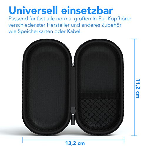 EAZY CASE Universal Tasche für In-Ear Kopfhörer mit Netzfach - Hardcase Aufbewahrungsbox, Schutztasche mit umlaufenden Reißverschluss, extra klein, oval, Schwarz - 3