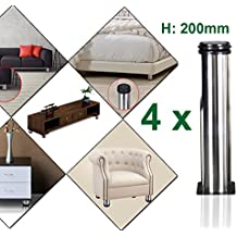 4 unidades Patas de Metal muebles regulables armario de cocina pies redondo - Metal cromado - Altura ajustable (Total: 200-215mm)