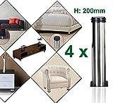 Qrity Lot de 4 Pieds de meubles, réglables Pied pieds de meubles - Chrome Métal - Hauteur réglable (Total: 200-215mm)