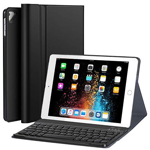 Earto Tastatur Hülle 9.7 kompatibel mit iPad 2018(6. Gen.), 2017 iPad (5. Gen.), iPad Pro 9.7, iPad Air2/iPad Air Magnetische Abnehmbare Tastatur -Ultra Dünnes PU-Leder Standfunktion DEUTSCHES QWERTZ - Usb-anschluss Mit Ipad-tastatur