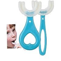 Pppby 2Pcs Brosse à Dents en Forme De U pour Enfants Brosse à Dents en Forme De U Arrondie Brosse à Dents De Nettoyage…