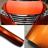KREEPO Air Release Orange Matte Chrome Metallic Car Vinyl Vehicle Wrap CV-63 12''x24''inch