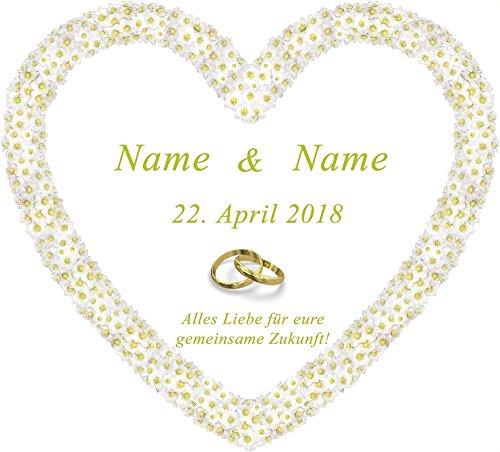 Hochzeitsherz zum Ausschneiden für das Brautpaar personalisiert mit den Namen und dem Datum für...