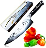 ZELITE INFINITY Chef Knife 8 Inch >> Executive Chefs Edition - Revolutionary AIR-BLADE Design, Best Quality Japanese VG10 Super Steel 67 Layer High Carbon Stainless Steel with Tsuchime Finish
