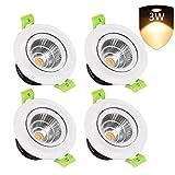 LEDMO 4-Pack LED Recessed Ceiling Lights, 3 inch 3W 300lm 30W Equivalent Warm White 2700K, 230V, LED Ceiling Spotlight Downlight.