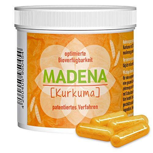 MADENA Kurkuma - hochdosiertes Curcumin | optimierte Bioverfügbarkeit | patentiertes Verfahren | bewusst OHNE Piperin | OHNE Emulgatoren, PVP | vegan | in Deutschland hergestellt (120 Kapseln)