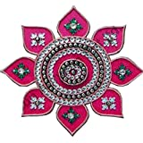 Generic Pink Color Flower Design Wooden Rangoli With 8 Leaf And 1 Big Centre Piece 30 Cm X 30 Cm