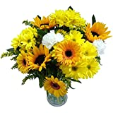 Clare Florist Summer Fresh Flower Bouquet, Sunny Sunflowers, Carnations and Germinis Hand Arrangeds for All Occasions