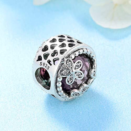 Yzhuzhimy perlina moda in argento sterling 925 cuore vuoto tre fiori perline cz viola misura originale braccialetto con ciondolo creazione di gioielli