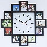 Monsterzeug Bilderrahmen Uhr, Design Wanduhr mit Fotorahmen, Wanduhr Bilderrahmen für zwölf Fotos, Fotouhr, Fotogalerie Uhr zum Selbstgestalten, Bilderuhr Foto Collage