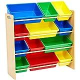 AmazonBasics - Portaoggetti per giocattoli dei bambini - Naturale/Colori primari