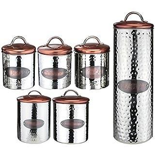 Apollo Housewares Tea Coffee Sugar Biscuit Bread Pasta Canister Jars Storage Set