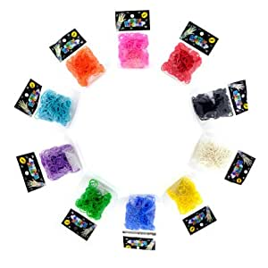 Lot of 10 Refill for Rainbow Loom Rubber Bands & Clips Loom Band 6000 Bands & 240 S-Clips 10 Colors