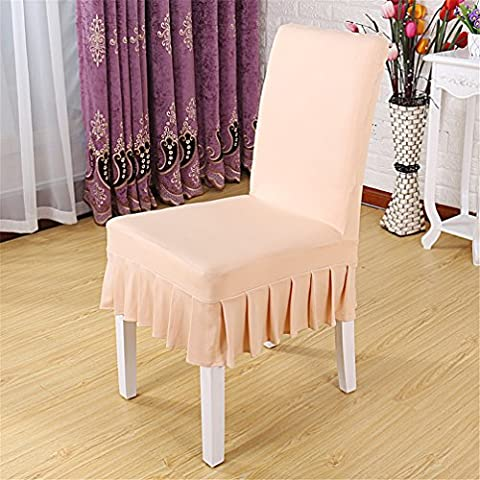 Inroy Ruffled Chair Cover Solid Color Dining Chair Protector (1PCS, Champagne)