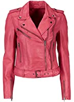 Ladies Lamb's Leather Biker Jackets in Coral Pink and Pale Grey in UK Plus Sizes 6 - 22