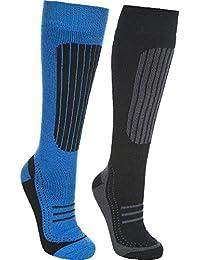 Trespass Langdon II Mens Twin Pack Ski Socks, Black/Bright Blue