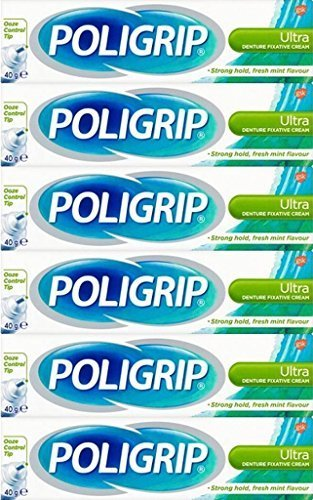 Poligrip Denture Fixative Cream Ultra 40g x 6 Packs by GSK