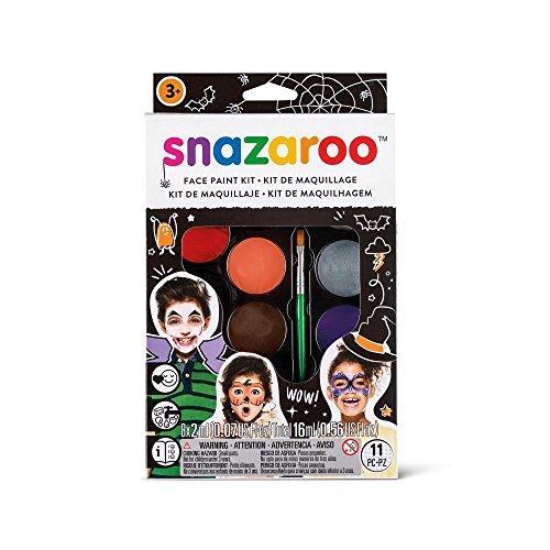 Snazaroo Schminkset Halloween, Schminkpalette mit Pinsel, Schwämmchen und Anleitung ( engl.), 8 Farben