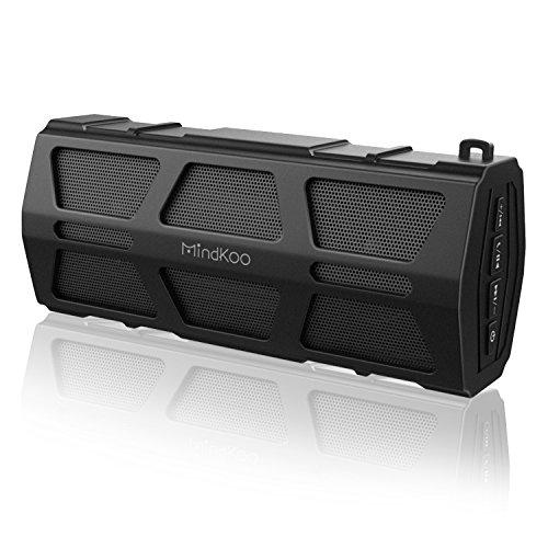 Bluetooth Lautsprecher, MindKoo Outdoor Kabellose Portabler Lautsprecher mit 30-Stunden Spielzeit, IPX5 wasserdicht, Dual-Treiber Wireless Speaker mit reinem Bass und eingebautem Mikrofon iPhone, iPad, Android-Handys, Tablets, - Bluetooth Lautsprecher Wireless Wasser