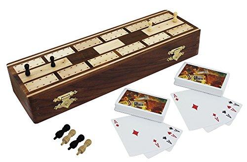 Tablero de juego de juntas de viaje completo cribbage set - 2 mazos de cartas incluidas - hecho a mano - 25,7 x 4,0 cm 8.1x