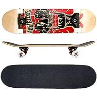 FunTomia® - Skateboard con cuscinetti ABEC-11 - ruote a profilo scanalato (100A) - legno d'acero canadese a 7 strati (route66)