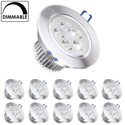 Paquete de 10, Pocketman 220V 5W Dimmable LED Empotrable Foco de techo...