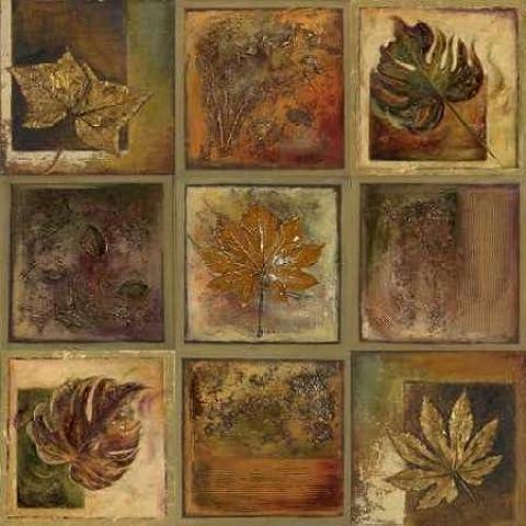 Foglie, quadrati, Patricia II dal Pinto-Stampa su tela in carta e decorazioni disponibili, Tela, SMALL (26 x 26 Inches
