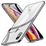 ZOVBR Coque iPhone XS, Coque iPhone X, Ultra Fine TPU Silicone [Crystal Clear] Coque Etui Housse, Bumper Housse de Protection pour iPhone XS, iPhone X, 5.8 Pouces - Transparent Contour Argent