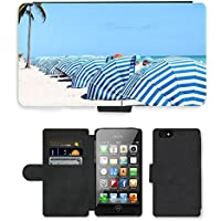 PU Billetera de Cuero Caso Titular de la tarjeta Carcasa Funda para // M00155635 Cabana Blu White Beach modello // Apple iPhone 4 4S 4G