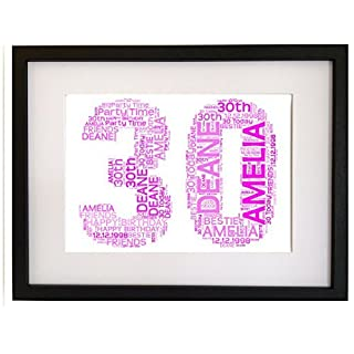 Personalised 30th Birthday Gift Present Word Art Print (WITH FRAME)