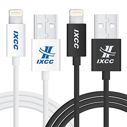 Lightning Kabel Lang, iXCC 2 Meter haltbares Ladekabel Lightning 8pin auf USB [Apple-MFi-Zertifiziert] für iPhone 7/SE/5/6/6s/Plus, iPad Mini,iPad Air, iPad Pro - Weiß and Schwarz
