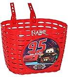 Fahrradkorb / Korb - Disney Cars Lightning McQueen incl. Namen - mit Befestigung den Lenker vorn - Fahrrad Car Auto Mc Queen Autos Jungen - auch für Roller und Dreiräder / Kinderfahrrad Kinder