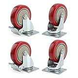 #10: Banggood 4 x Heavy Duty 100mm Rubber Wheel Swivel Castor Wheels Trolley Caster Brake Set of castor