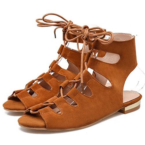 COOLCEPT Damen Mode Schnurung Sandalen Cut Out Slingback Flach Schuhe Gelb