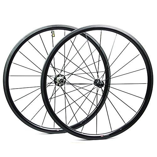 Yuanan 30mm 700C Road Bike Carbon Laufradsatz 28mm breitere Aero Felge mit dt Swiss 350Hub Sapim CX Ray Speichen für Fahrrad Rad Stahlrohr Tubeless -
