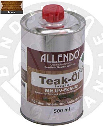 Teaköl mit UV-Schutz 500 ml Flasche braun inkl. 1x synthetischen Pinsel zum Auftragen