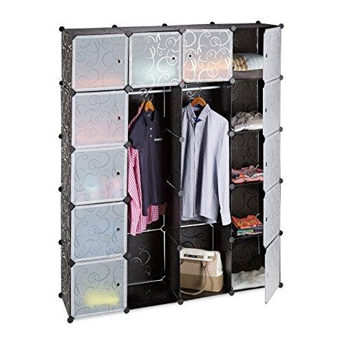 Relaxdays Kleiderschrank Stecksystem mit 2 Kleiderstangen, Garderobe mit 14 Fächer, Kunst