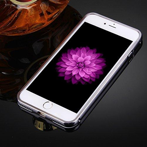 Für iPhone 7 Plus Trennbarer galvanisierender Spiegel Push Pull PC Schutzhülle Back Shell Cover + Metal Stoßfänger DEXING ( Color : Silver ) Black