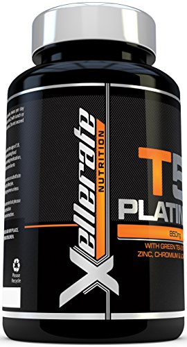 T5 Fat Burners – 200 Capsules – UK Manufactured Thermogenic Fat Burner – Suitable for Vegetarians & Vegans – Ingredients Include Green Tea Extract, Green Coffee Bean Extract, L-Carnitine and More – by Xellerate Nutrition