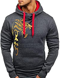 ITISME Herren Pullover Mens Printed Slim Printed Pullover Langarm-Kapuzenpulli Tops Bluse