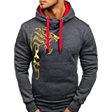 Ieason Men Top, Mens Printed Slim Printed Pullover Long Sleeve Hooded Sweatshirt Tops Blouse