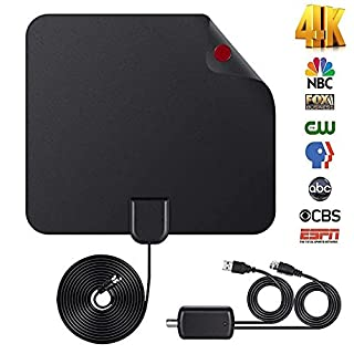 TV Antenna,2018 UPGRADED Gagawin Digital Amplified HD TV Antenna 50-80 Mile Range 4K HD VHF UHF Freeview Television Local Channels w/Detachable Signal Amplifier and 16.4ft Longer Coax Cable (1 pack)