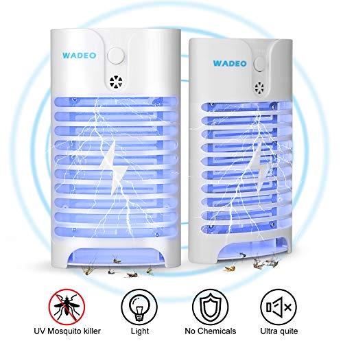 WADEO Insektenvernichter Elektrisch, Moskito Killer Licht UV-Licht LED Insektenfalle Mückenlampe Schutz vor Elektrischem Schlag Tragbare Mückenfalle Fliegen Für Innen Schlafzimmer Gärten, 2 Stück -