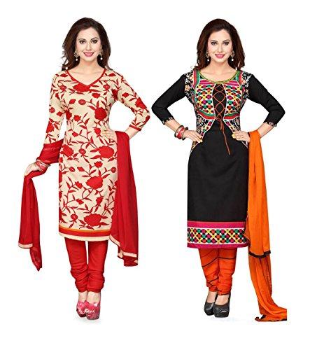Shree Rajlaxmi Sarees Women's Printed Poly Cotton and Crepe Regular Wear Unstitched Dress Material (2 Dress Material Combo) (rl-rose-b.koti-2)