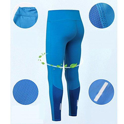 Zhhlaixing Solid color Womens Elasticity Yoga Tights Pants Fashion Gli sports Fitness Asciugatura veloce Compression Leggings Blue