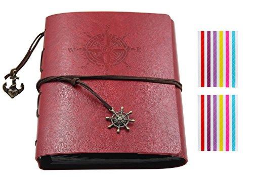 Soleiler DIY Scrapbook Vintage Photo Album en Cuir Album Mémo Cadeau pour Noël/Anniversaire / Mariage/Couple Voyage Diary/Album bébé Dark (Rouge)